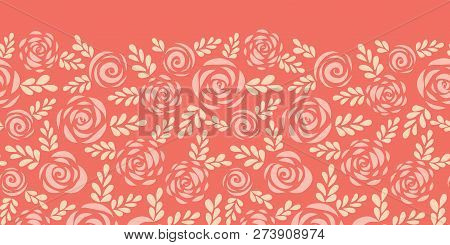 Scandinavian Style Roses And Leaves Red Pink Seamless Vector Border. Floral Silhouettes. Flower Patt