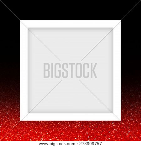 White Frame Template For Luxury Glitter Red Banner, White Rectangle Frame Blank For Images On Red An