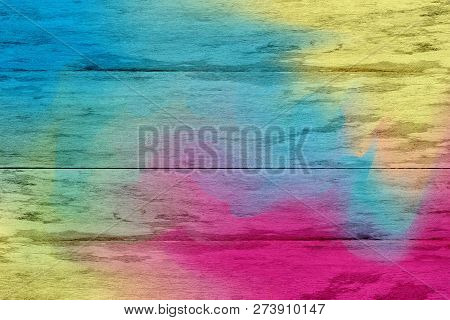 Blue And Pink Colorful Wooden Planks Cracked Background, Colorful Painted Wooden Texture Wall, Color