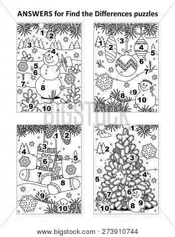 Answers For 4 Previous Find The Differences Visual Puzzles, That Are Winter Holidays, Christmas And