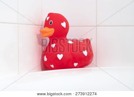 Large Red Rubber Duck In A Bathtub, Selective Focus