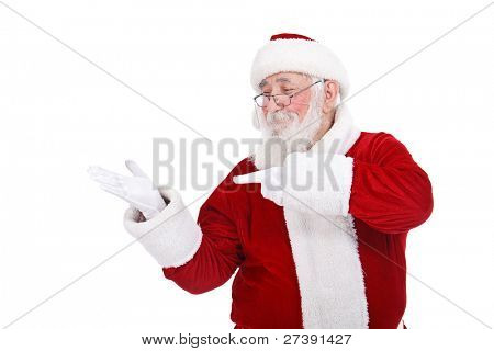 Santa Claus smiling pointing on empty hand,  isolated on white background