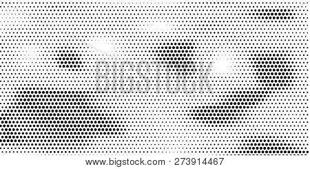 Grange Halftone Texture Of Black And White Dots. Minimal Geometric Background.  Vector Illustration