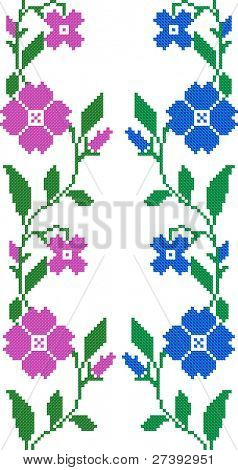 two seamless embroidered goods like handmade cross-stitch ethnic Ukraine pattern. Raster version over 20MPx
