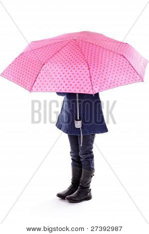 Little Girl Under Pink Umbrella