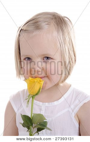 Little Blond Girl With Yellow Rose