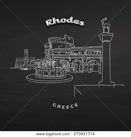 Rhodes Greece Landmarks On Blackboard. Hand-drawn Vector Illustration. Famous Travel Destinations Se