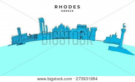 Rhodes Greece Panorama. Hand-drawn Vector Illustration. Famous Travel Destinations Series.