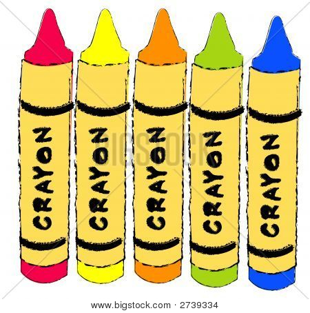 Crayons 5 Different Colors