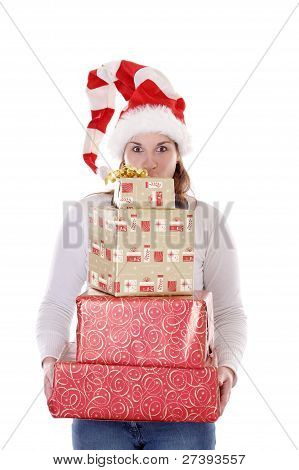 Young Woman With Christmas Presents & Hat Making Funny Faces