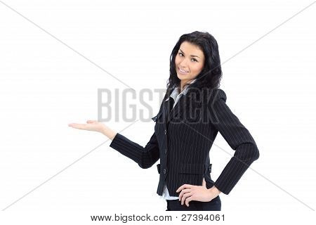 Young beautiful Business woman preseting a product