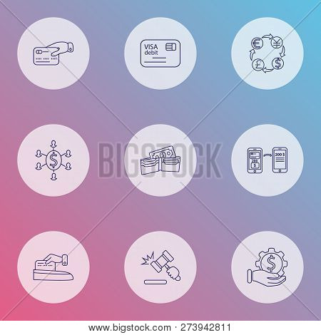 Economy Icons Line Style Set With Debit Card, Mobile Transfer, Currency Conversion And Other Purse E