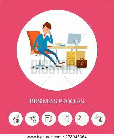 Business Progress Man Working On Laptop Device Vector. Director Manager, Chief Executive Working In