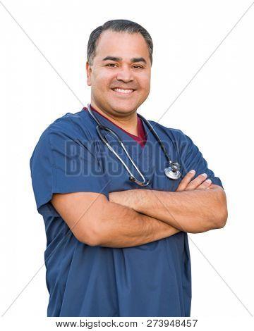 Hispanic Male Nurse Isolated On White.