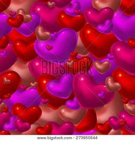 Romantic Seamless Pattern With Red Glass Hearts. Good Design For Greeting Card, Wrapping Paper Or In