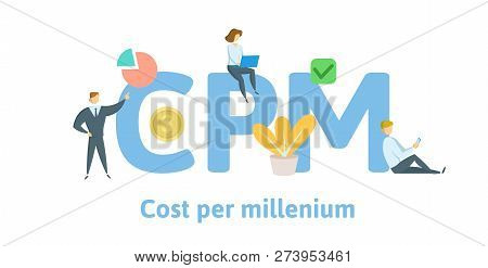 Cpm, Cost Per Mille, Cost Per Millenium. Concept With Keywords, Letters, And Icons. Flat Vector Illu