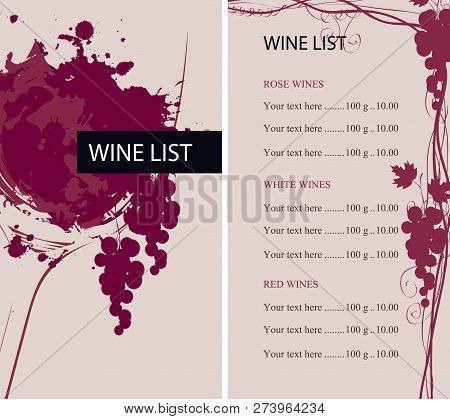 Vector Wine List For Restaurant Or Cafe With A Glass Of Wine With Abstract Wine Spots And Splashes,