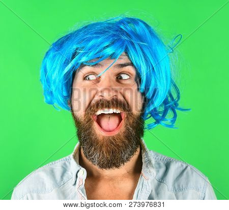 Funny Bearded Man Wearing Blue Wig. Handsome Bearded Man With Stylish Mustache In Wig. Fashion, Art