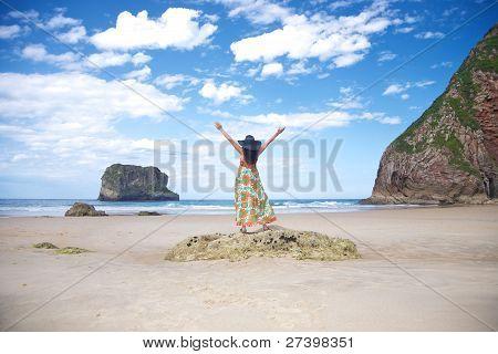Happy Woman In Ballota Beach