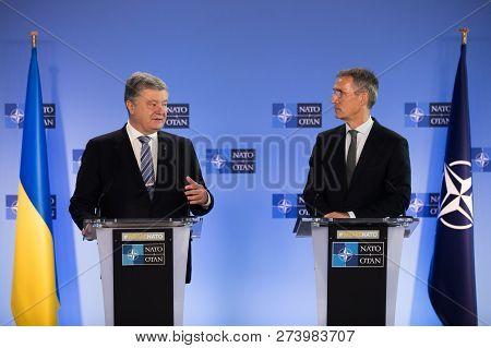 Brussels, Belgium - Dec 13, 2018: Ukrainian President Petro Poroshenko And Nato Secretary General Je