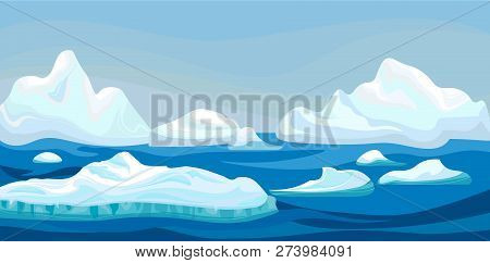 Cartoon Arctic Iceberg With Blue Sea, Winter Landscape. Scene Game Concept Arctic Ocean And Snow Mou