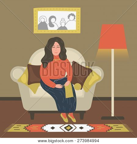 Needlework. Hand Drawn Woman Knitting In Armchair. Vector Illustration.