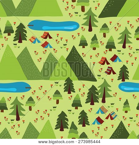Summer Camping Seamless Vector Pattern. Teepee Tents, Trees, Lakes, Meadow, And Mountains Background
