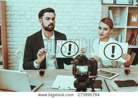 Bloggers Makes A Video. Bloggers Is Young Man And Woman. Video About A Business. Camera Shoots A Vid