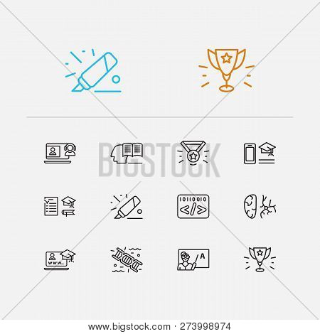 Online Learning Icons Set. Genetics And Online Learning Icons With Study Program, Medal And Informat