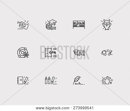 Distant Education Icons Set. Archaeology And Distant Education Icons With Notepad, Online Course And