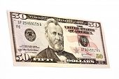 Used fifty dollar bill,isolated on a white background poster