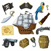 Piratic vector pirating sailboat parrot character of pirot or buccaneer illustration set of piracy signs hat chest sword and ship with black sails isolated on white background poster