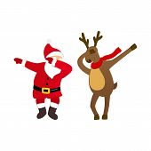 Funny Santa and deer dancing dab move, quirky cartoon comic characters, isolated on white background, young modern style for print, t-shirt, card, Christmas party invitation, animation, advertising. poster