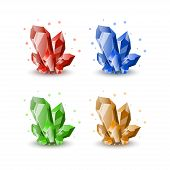 Jewels for gui. Gemstone icons. Gems for fantasy games interface. Set of cartoon crystals poster