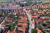 Rasnov town, Transylvania region of Romania. Aerial view townscape. poster