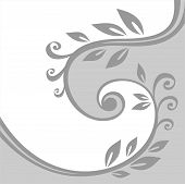 Gray stylized floral background with curls and leaves. poster