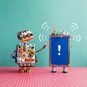 Robot looks at a smartphone with beep sound and exclamation mark on blue screen. Attention and help service concept. Blue red background poster