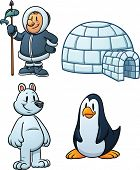 Cute cartoon Inuit, igloo, polar bear and penguin. Vector illustration with simple gradients. Each in a separate layer. poster