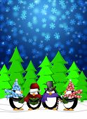 Penguins Carolers Singing Christmas Songs with Snowing Winter Scene Illustration poster