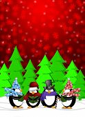 Penguins Carolers Singing Christmas Songs with Snowing Winter Scene Illustration on Red Background poster