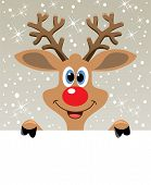vector christmas illustration of happy red nosed reindeer holding blank paper for your text poster