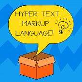 Text sign showing Hyper Text Markup Language. Conceptual photo Standard languages for the creation of websites Idea icon Inside Blank Halftone Speech Bubble Over an Open Carton Box. poster