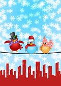 Three Birds on a Wire with Cityscape and Snowflakes Falling Christmas Scene Illustration poster