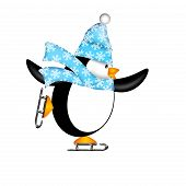 Cute Penguin with Christmas Snowflakes Scarf Ice Skating Illustration Isolated on White Background poster