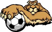 Graphic Mascot Vector Image of a Cougar with Paws on a Soccer Ball poster