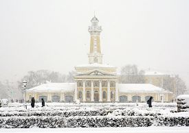 Winter Kostroma, Russian Old City In Snowstorm