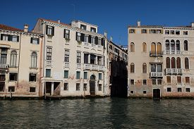 View Of A Street In Venice, Italy In Summer. Panorama Of Vintage Buildings. Old Houses On The Famous