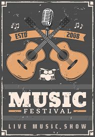Music Festival Musical Instruments, Guitar, Drum Set, Retro Microphone And Notes. Live Music Show An