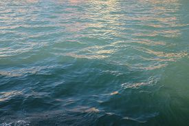 Close-up Of Water Taken In The Venetian Lagoon, Italy. Pleasant Turquoise And Aquamarine Blue Hues W