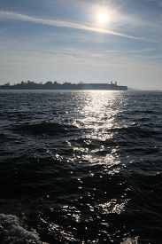 View From Vaporetto On The Adriatic Sea, Venice, Italy. Vertical Close-up Shot Of Wavy Lagoon Waters